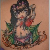 vecchio cartone animto stile dipinto colorato ragazza nuda con scritta tatuaggio