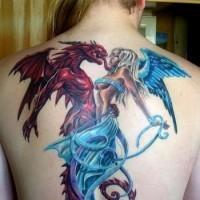 vecchio cartone animato colorato angelo  con mostro diavolo tatuaggio su schiena