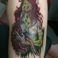 vecchio cartone animato dipinto stilizzato colorato infermiera sanguinolenta zombie tatuaggio su spalla