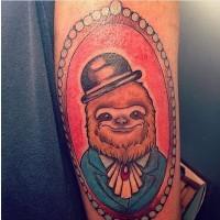 Old cartoons style painted gentleman sloth portrait tattoo on arm