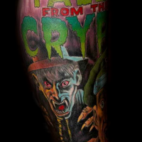 Old horror comic books like multicolored leg tattoo of vampire with lettering