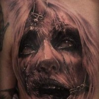 Old horror movie detailed woman monster portrait tattoo on chest
