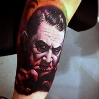 Old horror movie hero vampire tattoo on arm