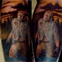 Old horror movie Jason colored tattoo on leg