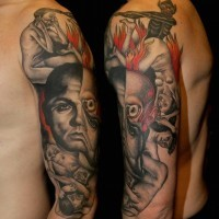 Old horror movie like colored various monsters tattoo on sleeve