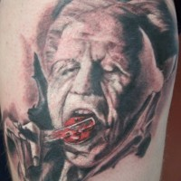 Old Horror movie style black ink creepy monster portrait tattoo
