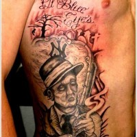 Old horror movie style painted smoking zombie on cemetery and lettering tattoo on side