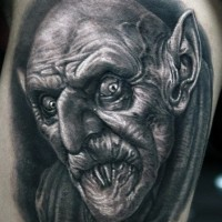 Old horror movies black and white creepy vampire tattoo on thigh