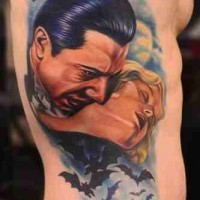 Old horror movies like big colored vampire tattoo on chest