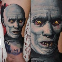 Old horror movies like colored vampire monster tattoo on wrist