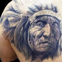 Old indian chief portrait tattoo by Silvano Fiato