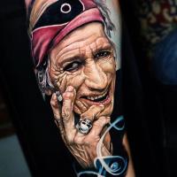 Old Keith Richards portrait tattoo