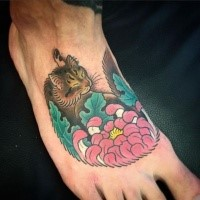 Old looking colored foot tattoo painted by horitomo of cute cat with flower