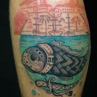Old looking colored leg tattoo of interesting fish with night city by Dino Nemec