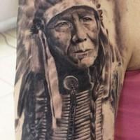 Old native american chief tattoo on half sleeve