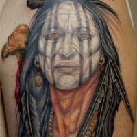 Old native american women with eagle tattoo