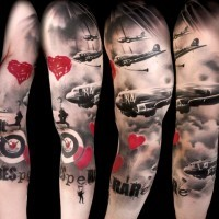 Old photos like big colored military tattoo with lettering and planes on sleeve