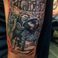 Old picture style colored arm tattoo of gladiator with lion