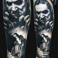 Old scary movie black and white evil monster tattoo on leg