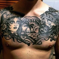 Old school big black and white nautical tattoo on chest