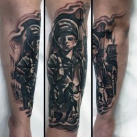 Old school black and white military tattoo on arm