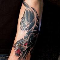 vecchia scuola pantera nera avambraccio tatuaggio
