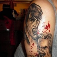 Old school cartoons style designed colored shoulder tattoo of bloody vampire man