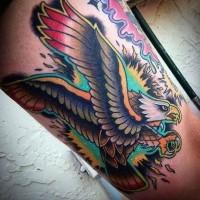 Tatuaje  de águila magnífica de varios colores