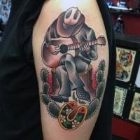 vecchia scuola colorato cowboy suona chitarra tatuaggio su spalla