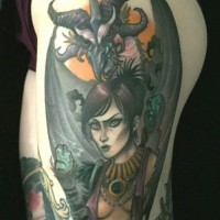 Old school colored incredible mystical woman tattoo on thigh stylized with dragon