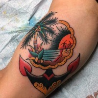 Old school colored little nautical tattoo with ocean and anchor on arm