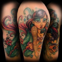 Old school colored mermaid tattoo on shoulder with cute fishes