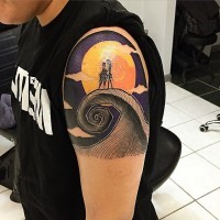 Old school colored shoulder tattoo of couple with moon