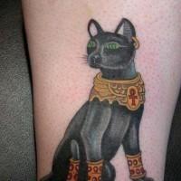 Oldschool farbiges Tattoo mit ägyptischem schwarzem Panther