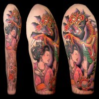 Old school colorful Asian geisha tattoo on sleeve stylized with dragon