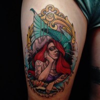 Old school detailed colorful thigh tattoo of seductive mermaid portrait