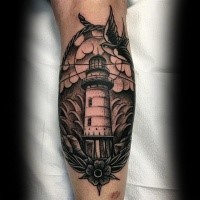 Old school dotwork style leg tattoo of lighthouse picture with bird