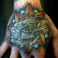 Old school emblem shaped hand tattoo eagle head and star