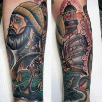 Old school multicolored nautical ship with sailor and anchor tattoo on leg