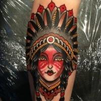 vecchia scuola nativo americano ragazza tatuaggio da Luke Jinks