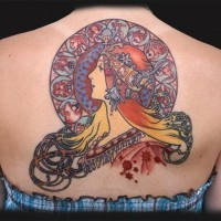 Old school nice colored big upper back tattoo of ancient queen combined with mystical tablet