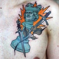 Old school original looking chest tattoo of king chess figure and swords