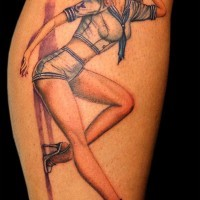 Old school painted colored pin up girl tattoo on leg