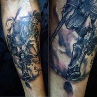 Old school slightly detailed forearm tattoo of ancient warrior