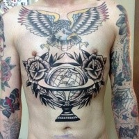 Old school style black ink belly tattoo of big globe with roses and colored eagle