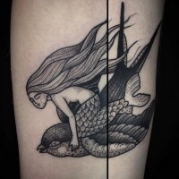 Old school style black ink forearm tattoo of mermaid flying the bird