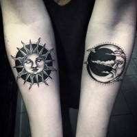 Old school style black ink forearm tattoo of sun and moon