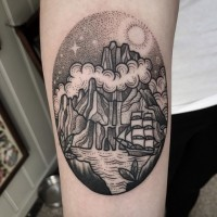 Old school style black ink nautical themed forearm tattoo of mystic island with sailing ship