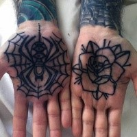 Old school style black ink spider in spiderweb and rose flower tattoo on both hand palms