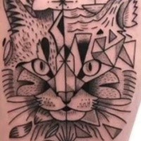 Old school style black ink tattoo of cat stylized with geometrical figures